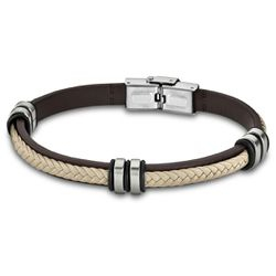 Bracelet Urban Man - Bracelet Cuir Ivoire Acier - LS1829-2-6 - Modalova