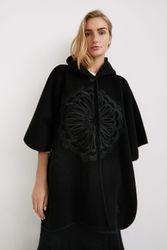 Poncho capuche brodé - BLACK - U - Desigual - Modalova