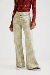 Pantalon wide leg slim - GREEN - 38 - Desigual - Modalova
