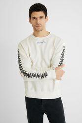 Sweat-shirt coton ouaté fermeture Éclair - WHITE - XL - Desigual - Modalova