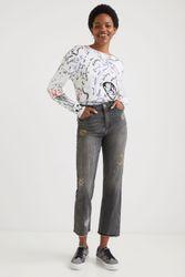 Pantalon en jean straight cropped cosmic - BLACK - 38 - Desigual - Modalova