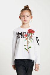 T-shirt fleurs sequins - WHITE - 3/4 - Desigual - Modalova
