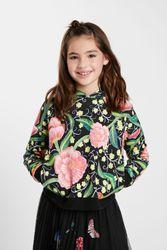 Sweat-shirt capuche fleurs - BLACK - 3/4 - Desigual - Modalova
