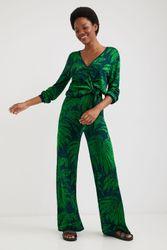 Pantalon large à motif jacquard - GREEN - XS - Desigual - Modalova