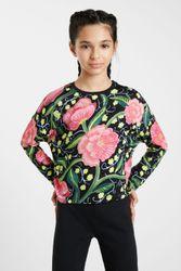 T-shirt fleurs manches chauve-souris - BLACK - 7/8 - Desigual - Modalova
