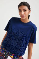 T-shirt léopard 100 % coton - BLUE - S - Desigual - Modalova