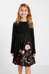 Robe trapèze fleurs - BLACK - 3/4 - Desigual - Modalova