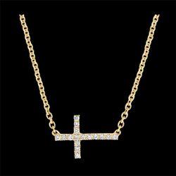 Collier Fraîcheur - Croix - or jaune 18 carats et diamants - Edenly - Modalova