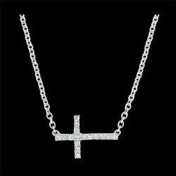 Collier Fraîcheur - Croix - or blanc 9 carats et diamants - Edenly - Modalova
