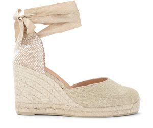 Sandale avec semelle compensée Carina en tissu beige avec inserts dorés - Castañer - Modalova