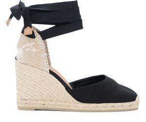 Sandale avec semelle compensée Carina en toile de coton noir - Castañer - Modalova