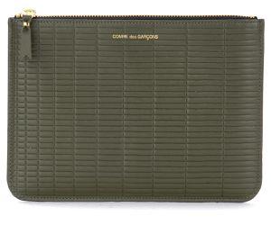 Pochette Brick Line en cuir couleur kaki - Comme des Garçons Wallet - Modalova