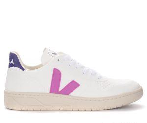 Baskets V-10 en cuir blanc avec logo violet - VEJA - Modalova
