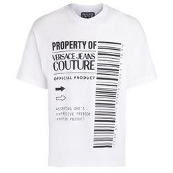 T-Shirt blanc avec logo code-barres - VERSACE JEANS COUTURE - Modalova