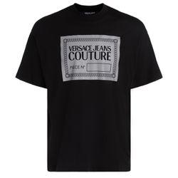 T-Shirt noir avec logo réfléchissant - VERSACE JEANS COUTURE - Modalova